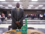 Langston Willis manning the table and ready to answer any questions parents and prospective students have about NSU (Oct