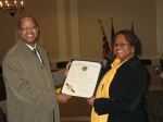 Delegate Tarrant presenting the Maryland State General Assembly Official Citation to Peggy Mayfield (PGCMDC President at