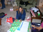 Mia Wood wrapping gifts for PGCMDC's adopt a family project (Dec. 2005)