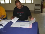 Greg Grimes working the table at PGCMDC's first Marrow Drive (Jun. 2007).