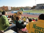 The Spartan mascot checks out some current and future Spartans