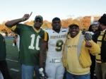 Langston poses with an NSU players and his proud father.