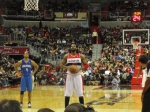 Nene tries to ice the game from the free throw line.